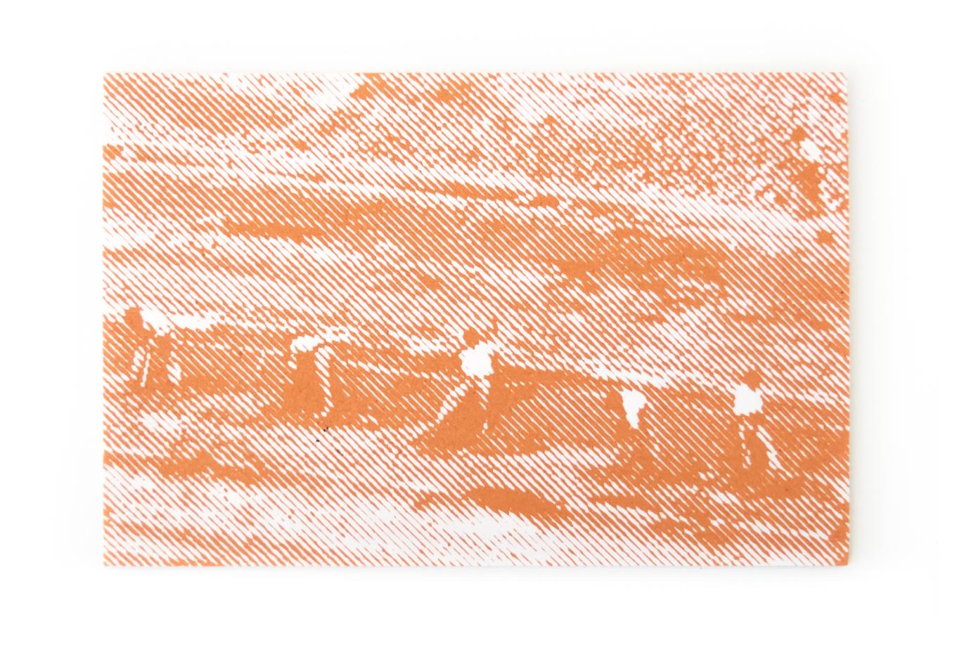 Creux de Séon, 2014, Sérigraphie, argile, timbre et étiquette, 10 x 15 cm, Carte Blanche #1, 1:90 exemplaires, éditions Infra 2014, Œuvre réalisée avec le soutien de l'ESBA-Nîmes.