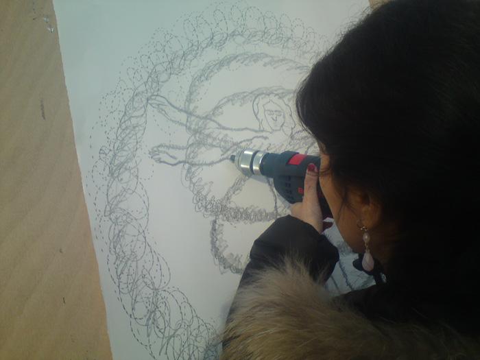 Yazid Oulab, atelier AEM Richebois, dessin à la perceuse